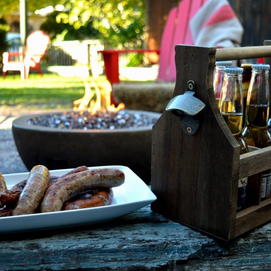 Gas Firepit, Beer and Sausage