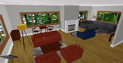 Family Room Perspective Drawing