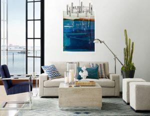 Williams Sonoma Home Neutral sofa blue pillows