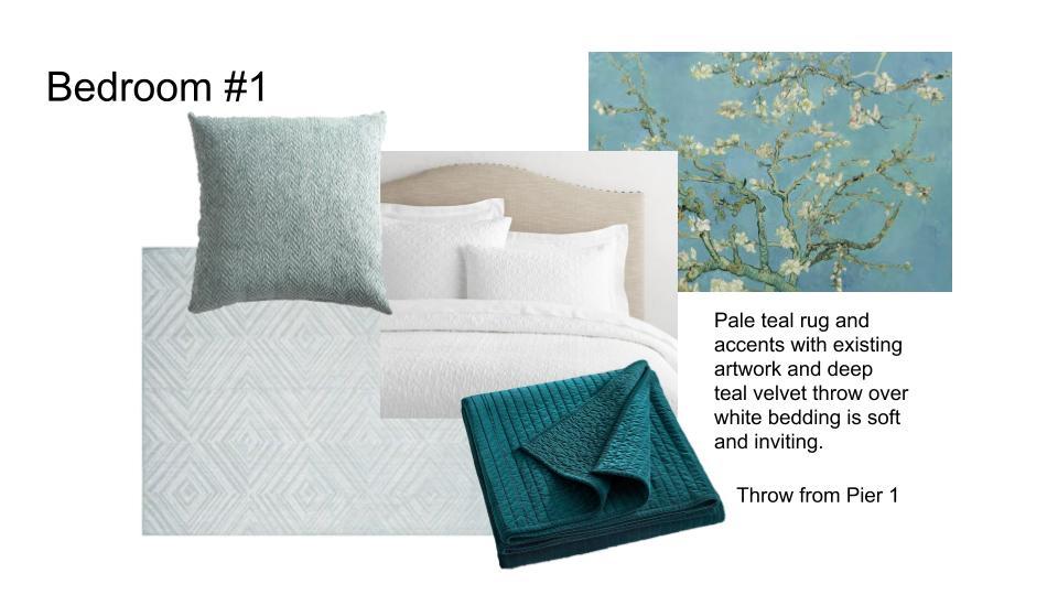 Teal & White Bedroom upholstered bed